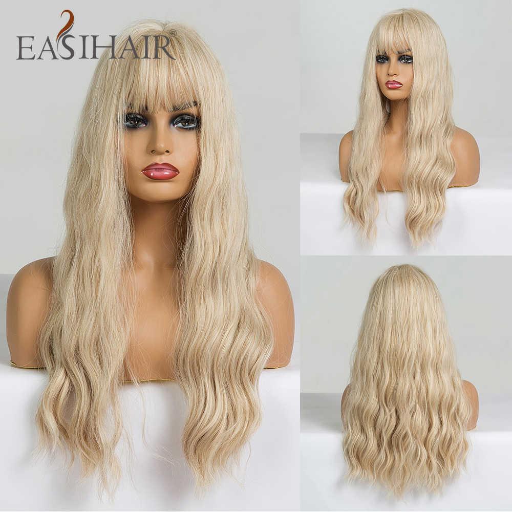 EASIHAIR długa wanilia blond fala peruki z grzywką syntetyczne Glueless peruki dla czarnych kobiet Cosplay peruki naturalne włosy peruki