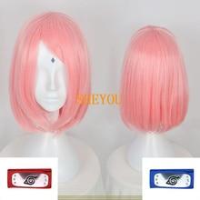 Anime Haruno Sakura Short Pink Styled Hair With Headband Heat Resistant Cosplay Costume Wigs + Wig Cap