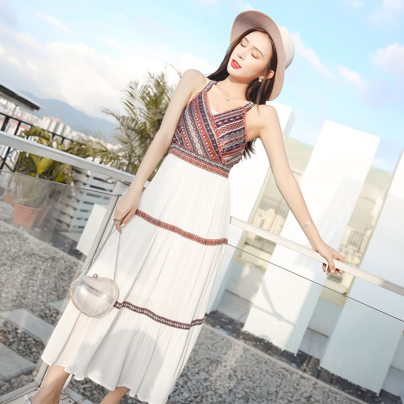 Summer Chiffon Beach Dress 2019 New Style Women's Thailand Seaside Holiday Ethnic-Style Backless Camisole Slimming Dress
