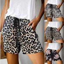 Fashion Shorts Women new Comfy Drawstring Casual Print Elastic Waist Pockets Shorts(S-XXL) шорты женские 2020 hot sale#guahao cheap ISHOWTIENDA Polyester Loose PATTERN High REGULAR Leopard