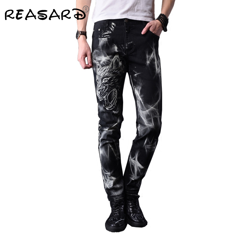 Europe Style Personality Printed Rock Jeans Men Black Casual Slim Fit Pencil Jeans For Man,size 28-38