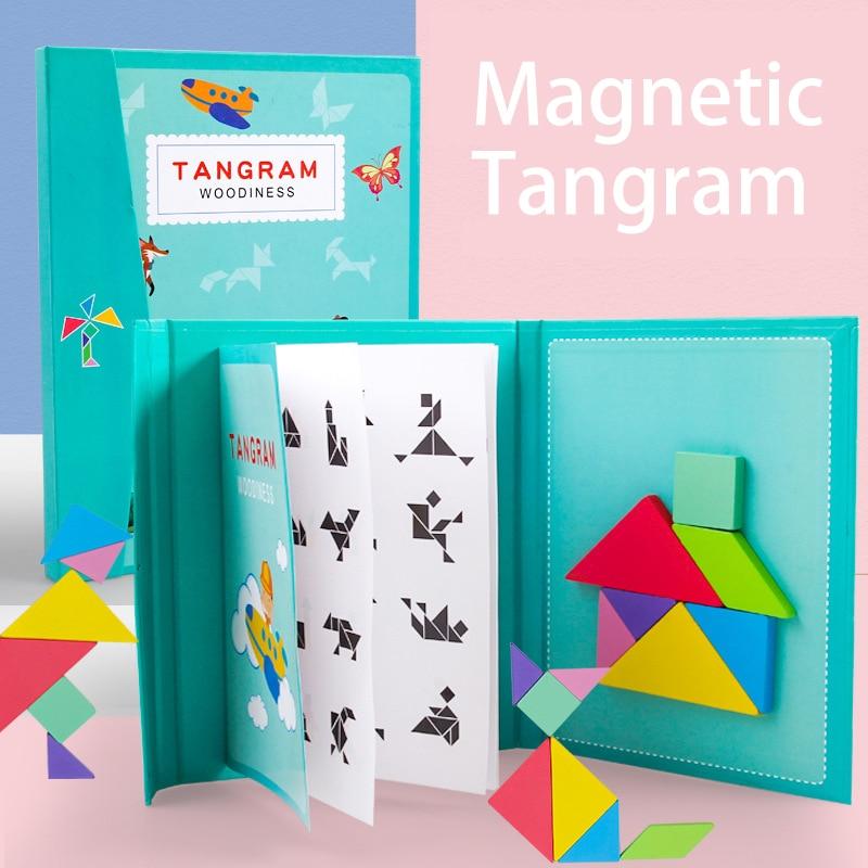 Novo crianças magnético 3d quebra-cabeça tangram pensamento jogo de treinamento bebê montessori aprendizagem brinquedos educativos de madeira para crianças