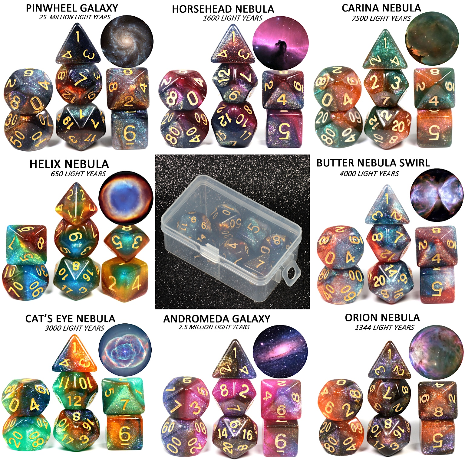 2019 Super Universe Galaxy DND Dice Set D4-D20 Dungeons and Dragons RPG Best Gifts 8 Colors for Choose game dice image