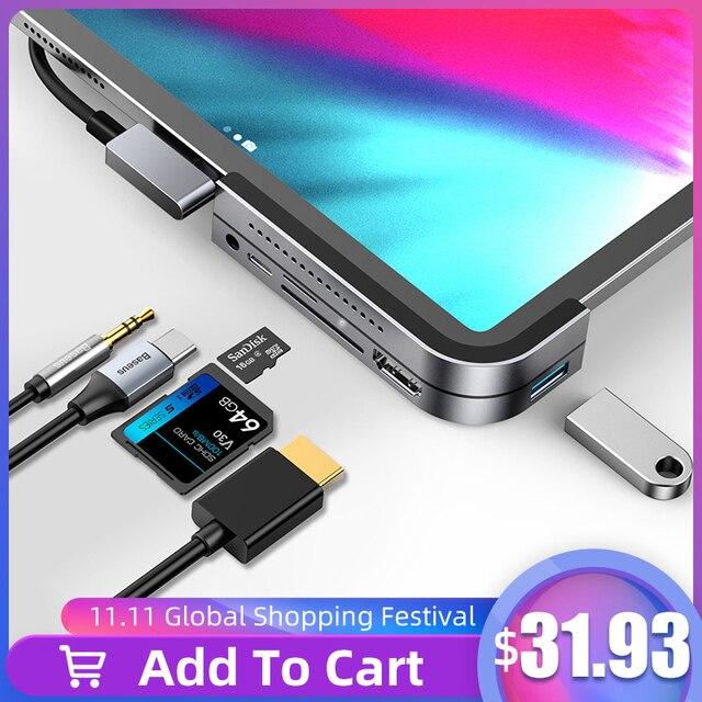Baseus USB C HUB to USB 3.0 HDMI USB HUB for iPad Pro Type C HUB for MacBook Pro Docking Station Multi 6 USB Ports Type C HUB