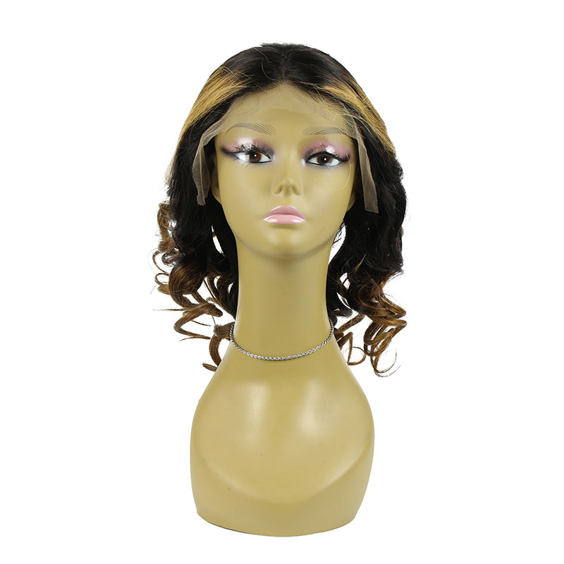 Wholesale Virgin Remy100% Human Hair Lace Front Wig Two Tone 14inch For Women