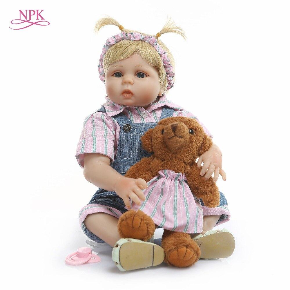 NPK 48CM corps complet SIlicone renaître bébés poupée jouet de bain réaliste nouveau-né princesse bébé poupée Bonecas Bebes Reborn Menina