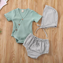 New Kids Baby Baby Set 3 Pieces Newborn Baby Boy Girl Outfit Clothes Tops Romper Tutu Shorts Pants Set Solid V Neck Hat 2020(China)