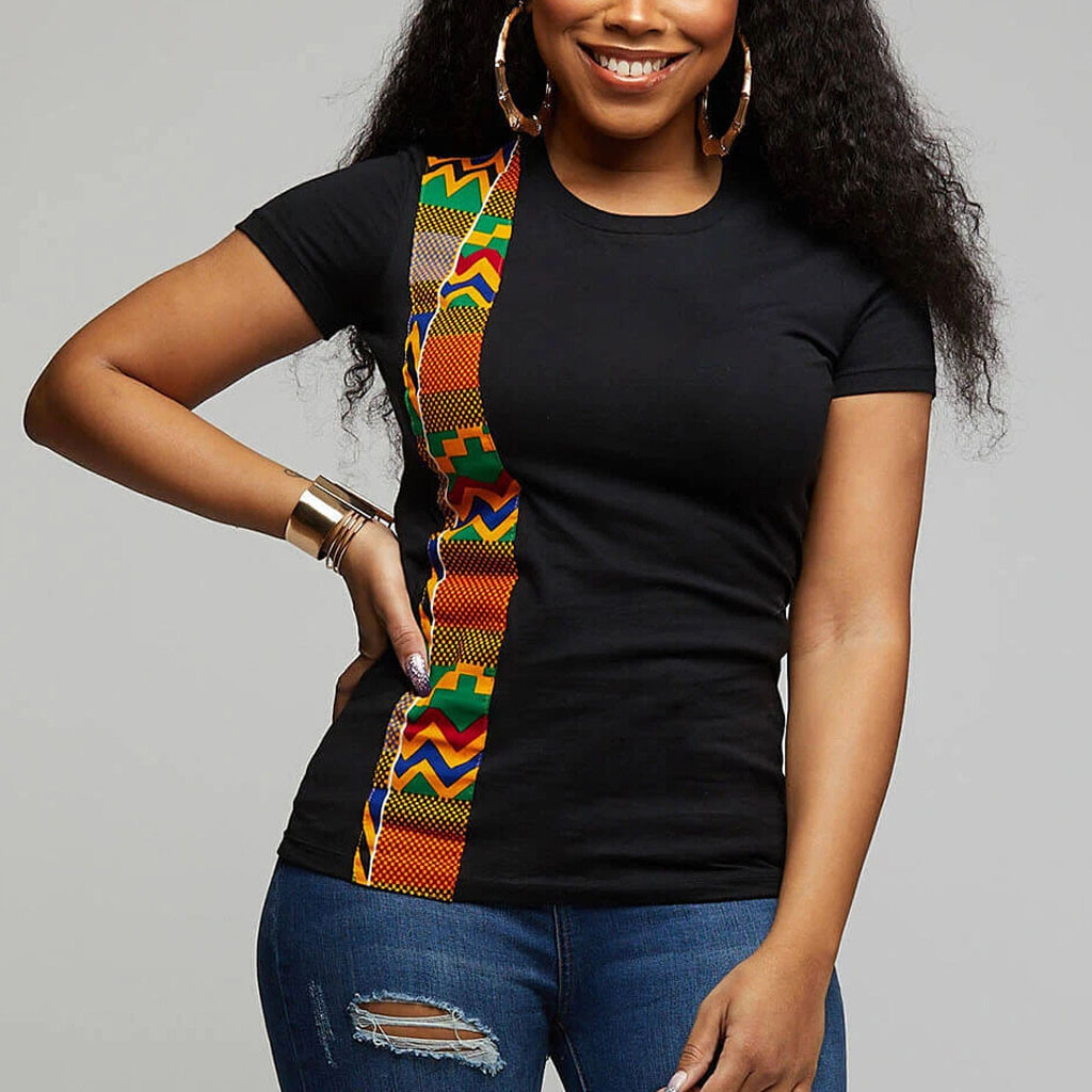 Couple Clothes Summer T Shirt Women African Print Ethnic T-shirt O-neck Short