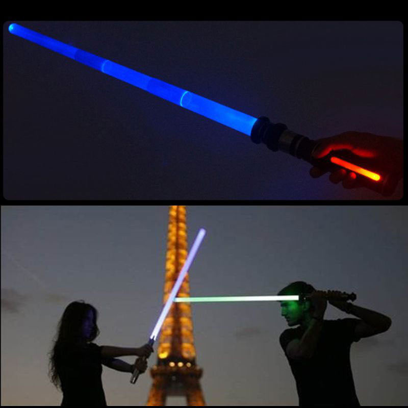 2Pcs Star Wars The Rise Of Skywalker Foldable Laser Sword Light Lightsaber Toy Jedi Scalable Weapons For Boy Girls Cosplay Gift