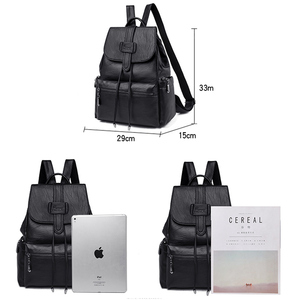 Image 5 - 2020 Leather Backpacks Women Casual Back pack Sac a Dos Femme Travel Backpack school bags for teenage girls mochila feminina