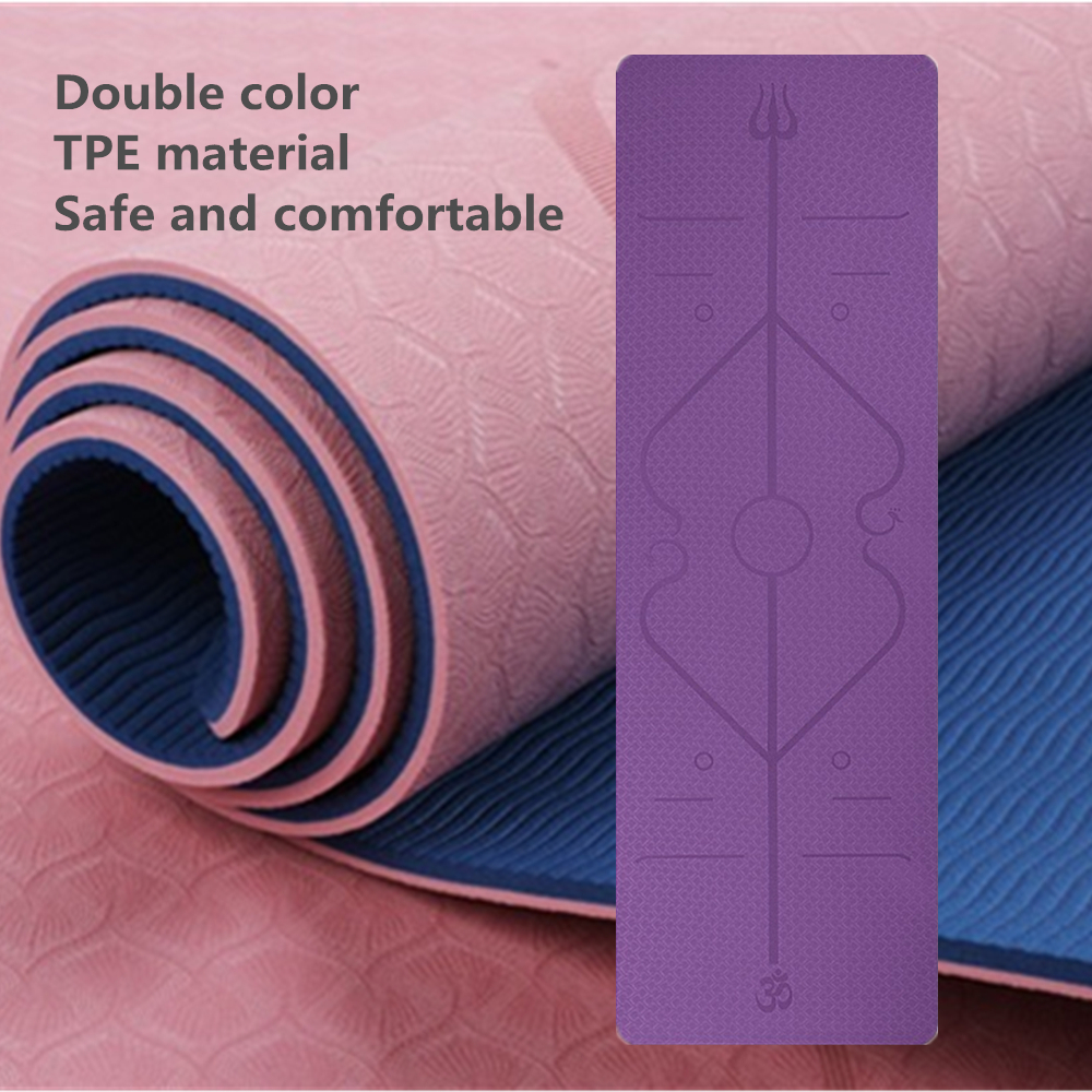 183*61*0.6 TPE Yoga Mat New Double Color Position Line Non Slip Carpet Mat Beginner Environmental Fitness Gymnastics Mats Style2