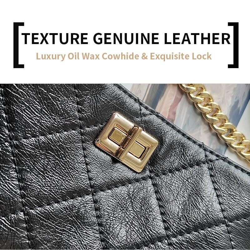 Image 3 - EMINI HOUSE Oil Wax Diamond Lattice Bucket Bag Genuine Leather Wide Strap Shoulder Bag Luxury Handbags Women Bags Designer-in Top-Handle Bags from Luggage & Bags