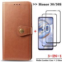 3-in-1 glass case for honor30 magnetic holder wallet flip phone cases honor 30 huawei honor 30s leather case cover honor-30 s