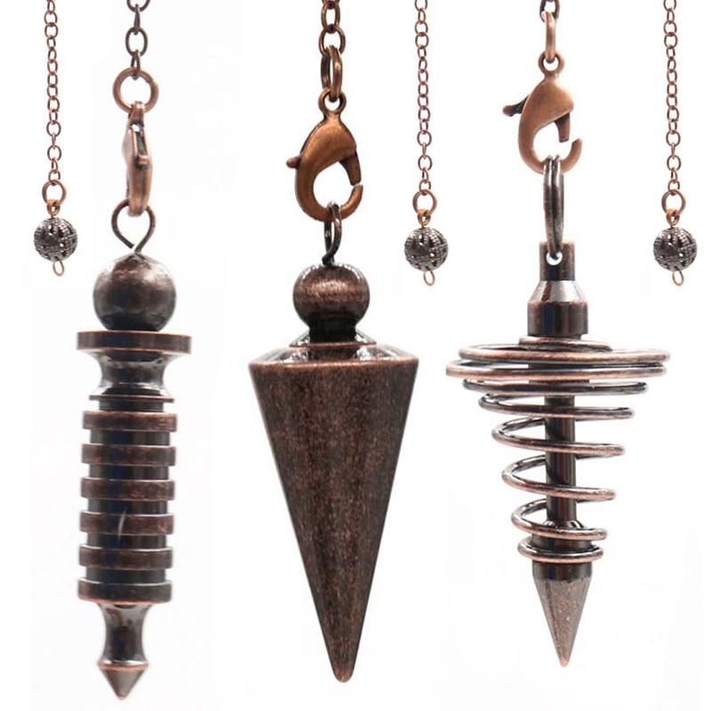Metal Pendulums for Dowsing Divination Reiki Healing Spiritual Wicca Women Men Amulet Screw Shape Pendule Chains Charm Jewelry