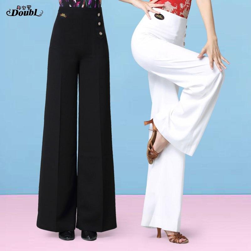 DOUBL Vogue Womens Dance Pants New Ballroom High Waist Lady's Latin Standard Practice Wide Leg White Trousers Dancing Waltz
