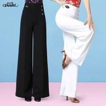 Double Vogue femmes pantalons de danse latine nouvelle salle de bal taille haute dame pratique Standard jambe large pantalon blanc valse danse