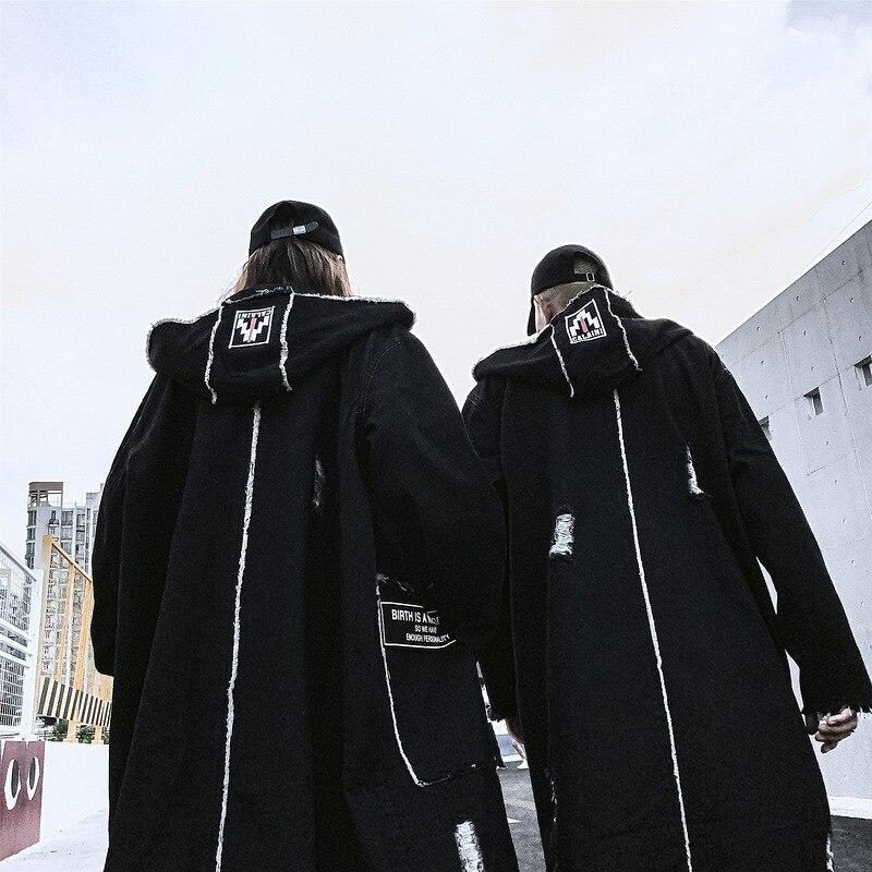 Mode gothique longue Trench manteau hommes Hip Hop à capuche coupe vent vestes noir Streetwear Swag pardessus mâle décontracté Streetwear - 2