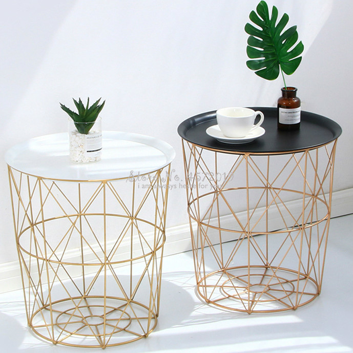 New Nordic Golden Iron Metal Coffee Table Dirty Storage Basket Tea Fruit Snack Service Plate Tray Bed Living Room Sofa Side