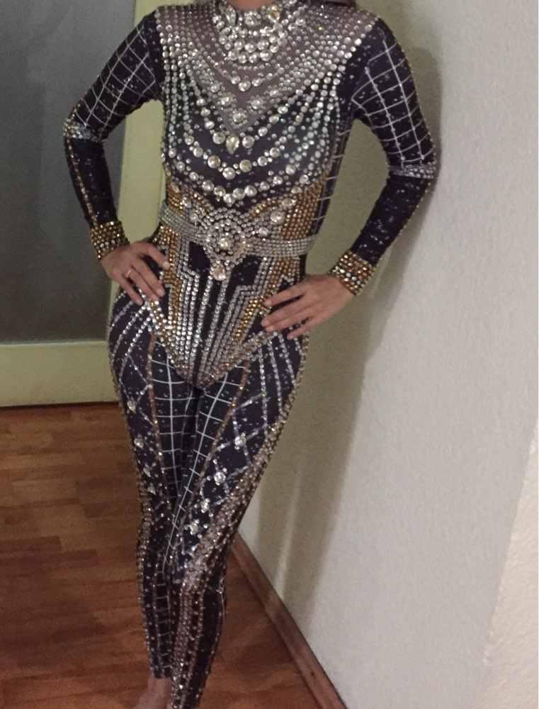 キラキララインストーンクリスタルスーツレディースロングスリーブスパンナイトクラブバーウェディングパーティー衣装歌手ジャズダンスのステージ衣装