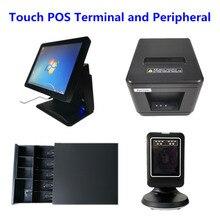 """POS система 15 """"сенсорная панель кассовый аппарат, ящик для наличных и 80 мм Термопринтер для чеков с автоматическим резаком и сканером штрих кодов"""