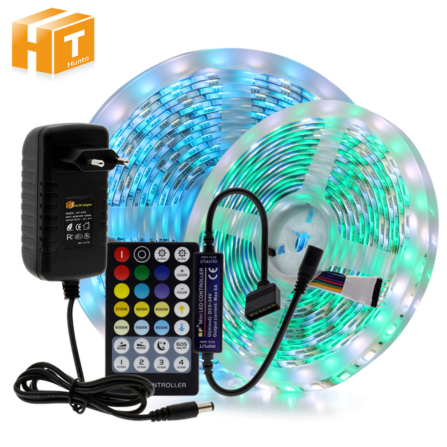 LED Strip RGBCCT Set RGB + Warm White + Cold White 5 Colour LED Strip 5m + 28Key RF Remote Controller + DC12V Power Adapter