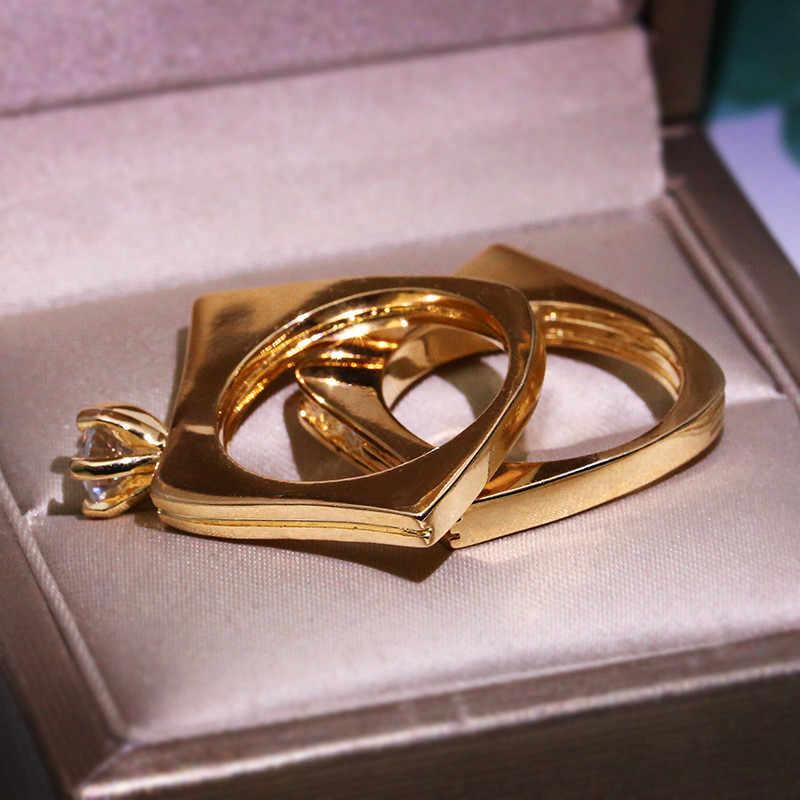 יוקרה נקבה עגול קריסטל אבן טבעת סט ייחודי סגנון מסיבת חתונה לנשים צהוב זהב גיאומטרי אירוסין טבעת