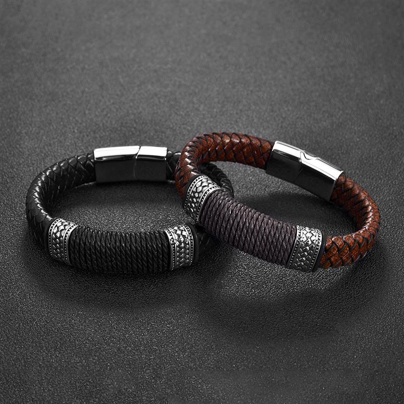 Jiayiqi Black Brown Genuine Leather Bracelet for Men Punk Braided Rope Steel Magnetic Button Male Bracelet Jewelry Birthday Gift