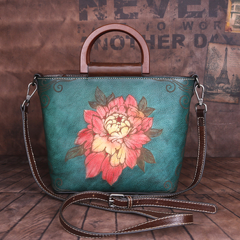 New Female Handbag Shoulder Tote Bag Multi-Purpose Peony National Style Women Genuine Leather Messenger Crossbody Embossed Bags