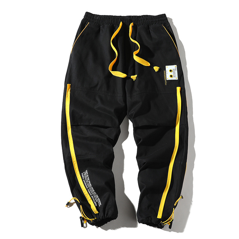 2019 Autumn Streetwear Hip Hop INS Joggers Pants Men Loose Harem Pants Ankle Length Trousers Patchwork Casual Sweatpants