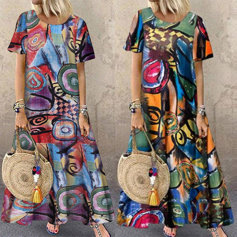 2019 Summer Bohemian Dress Women Casual Short Sleeve Pockets Sundress ZANZEA Vintage Printed Ladies O Neck Long Maxi Vestidos