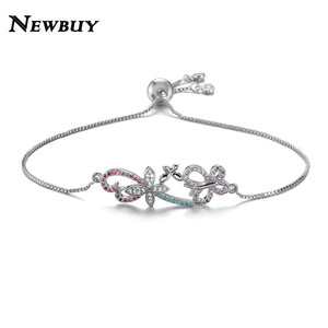 NEWBUY Unique Design Butterfly & Flower Charm Bracelets For Women Girl AAA+ CZ Jewelry Femme Copper Chain Bracelet Adjustable