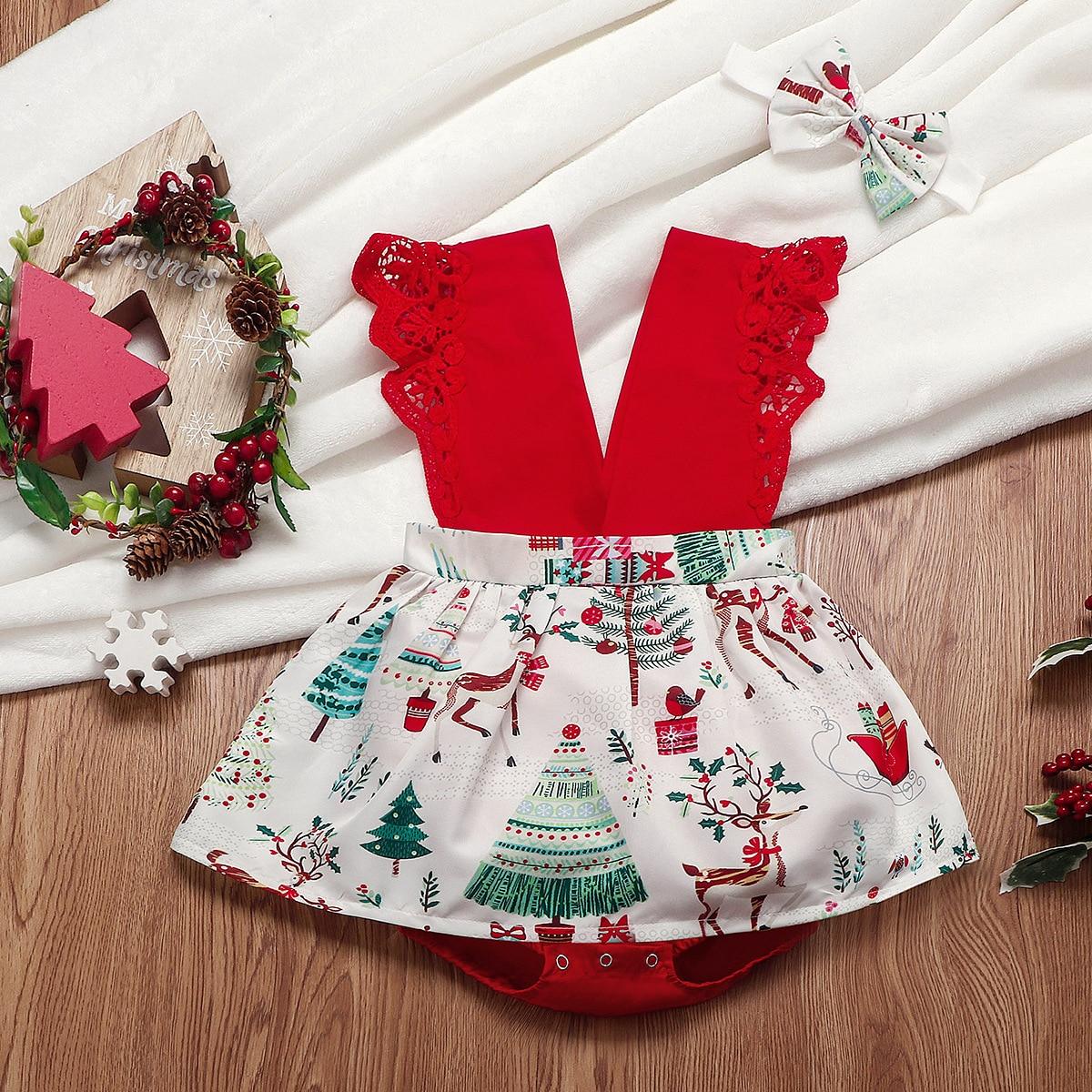 Baby Girl 1st Xmas Christmas Outfit Party Dress Tutu Skirt Jumpsuit 3pcs Set