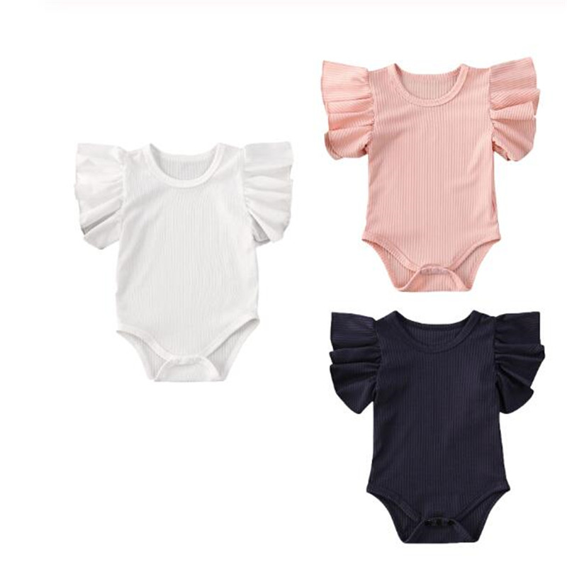 Fashion Newborn Baby Girls Ruffles Romper Summer Short Sleeve Jumpsuit Ribbed Knitted Romper Summer Clothes High Quality Outfits