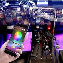 цена на Car RGB LED Neon Interior Light Lamp Strip Decorative Atmosphere Lights Wireless Phone APP Control for Android IOS DC 12V