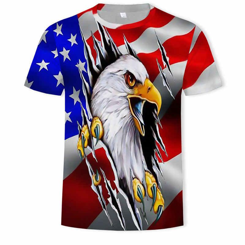 الصيف USA العلم تي شيرت الرجال/النساء ثلاثية الأبعاد التي شيرت طباعة مخطط العلم الأمريكي الرجال بلايز أصلع النسر نمط قميص تي شيرت غير رسمي الذكور