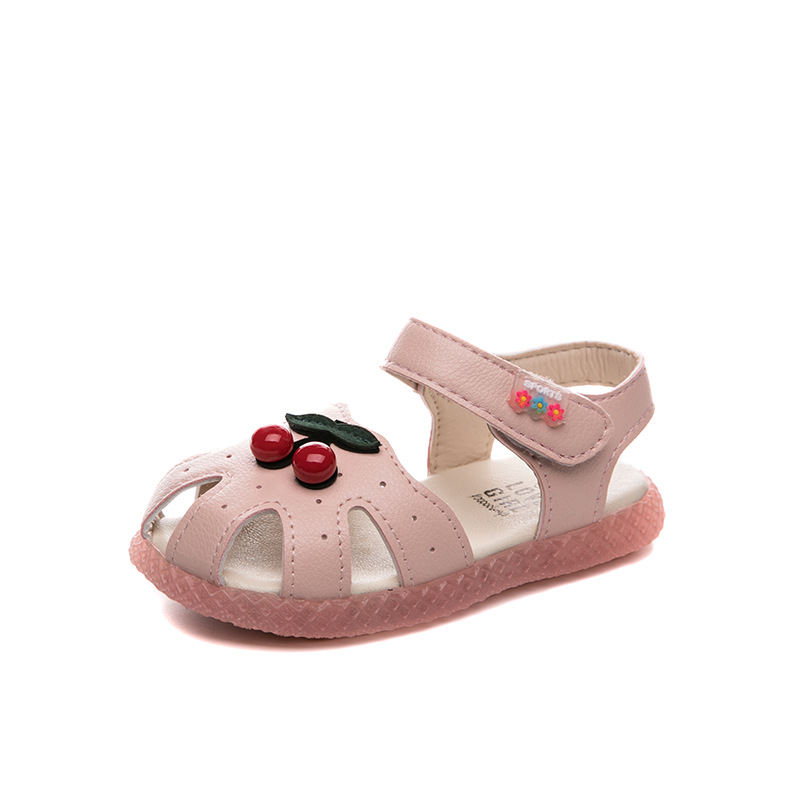 Baby Girls Sandals Kids Summer Shoes Closed Toes Anti-kick Children's Sandals Cherry Fruit Fashion Cute Sweet Soft For Toddlers