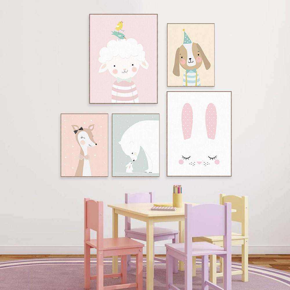 Kindergarten Decoration Painting Pink Wall Art Canvas Pictures for Living Room Anime Poster Sheep Rabbit Cow Duck Dog image
