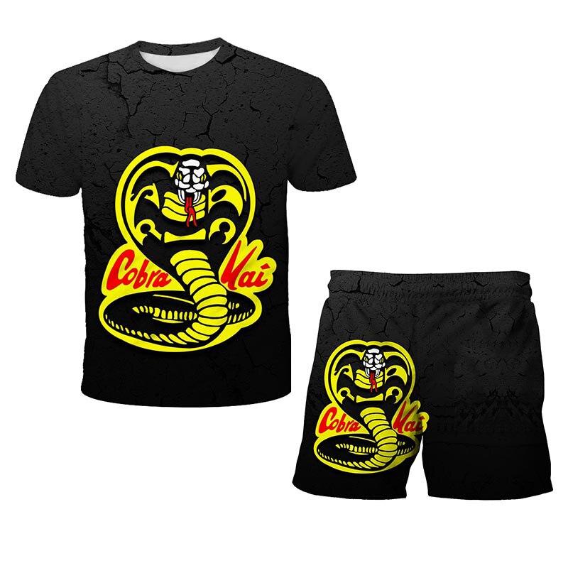 Футболка с принтом кобры Кай, шорты для мальчиков, футболка с надписью Strike First Strike Hard No милосердия, летняя футболка для девочек, футболка с ко...