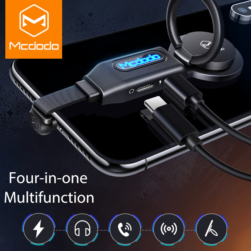 MCDODO 4in1 LED Light Audio Adapter Finger Ring Holder Earphone OTG Converter Mobile Phone Cable Charge For IPhone XS MAX 7 Plus