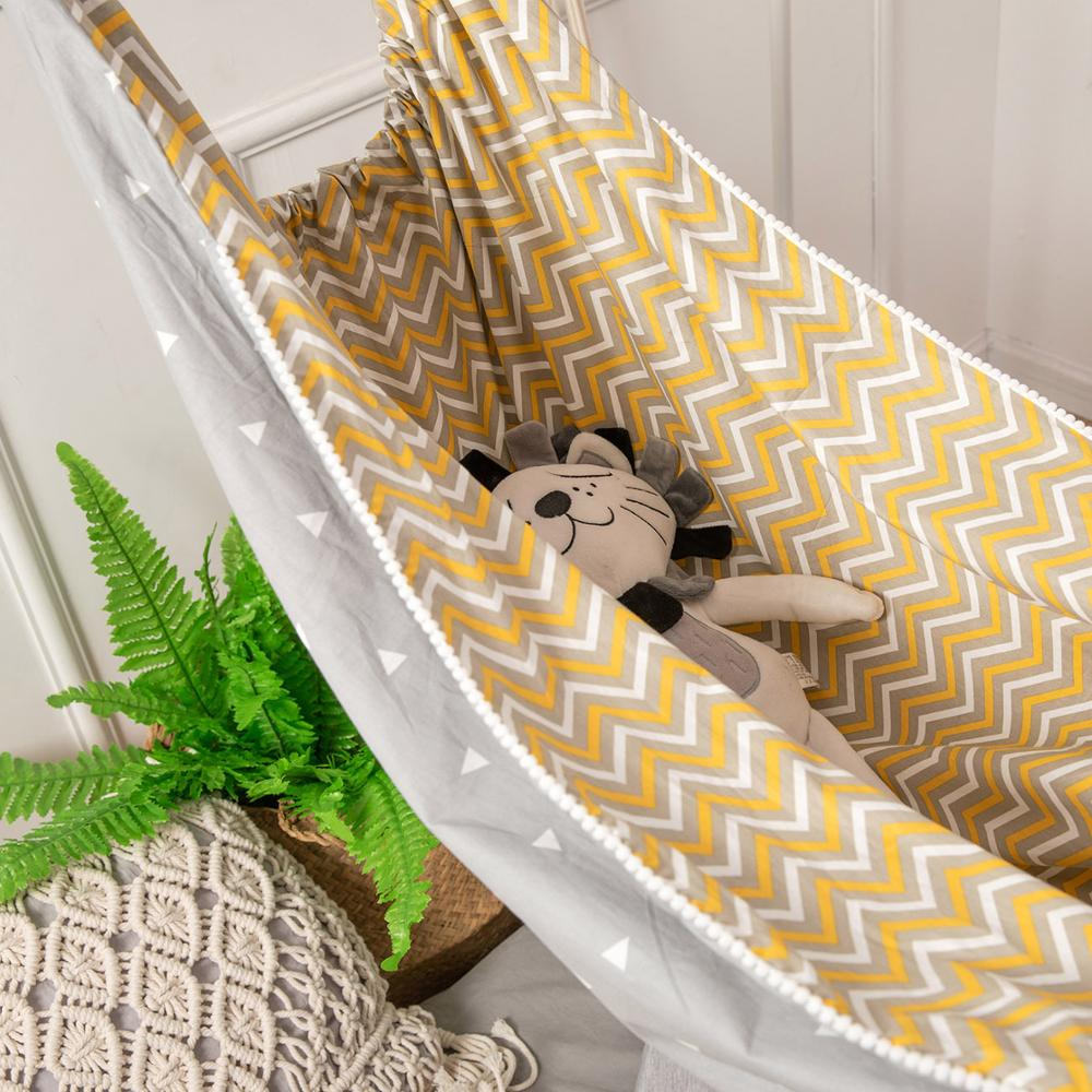 Yellow Baby Hammock For Crib INS Cartoon Design Outdoor Indoor Hanging Basket For KIds Travel Hammocks Swings Children Hammock