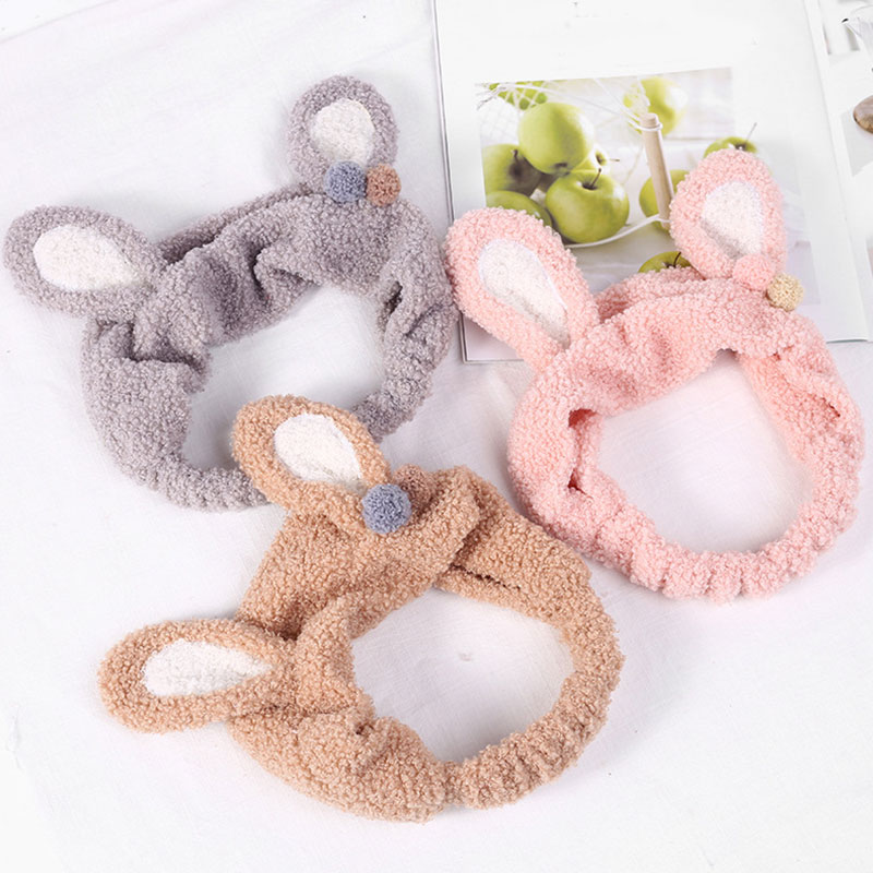 Cute Rabbit Ears Headband Soft Plush Hairband Elastic Elastic Hair Hoop Hair Spa Facial Accessories Headwear Makeup Tool