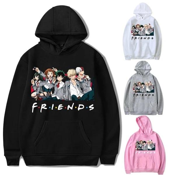 U//A Mujeres Ni/ñas Sudaderas Casual Estampado Carta Friends Sweatshirt con Bolsillo Pullover de Manga Larga con Capucha