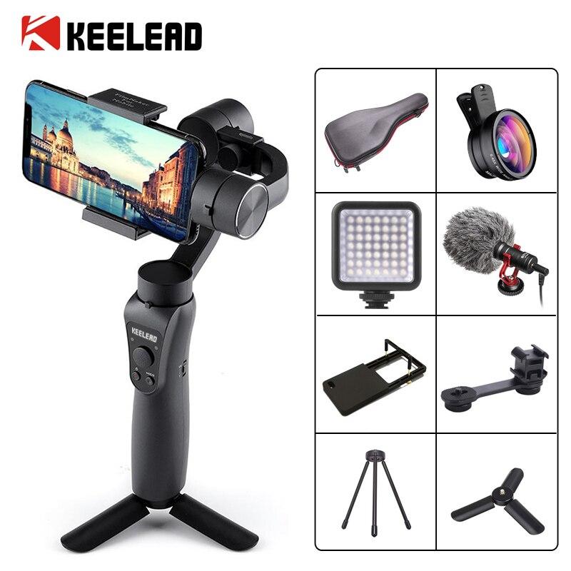 KEELEAD 3-Eixo Cardan Handheld Estabilizador w/Focus Pull & Zoom para iPhone Xs Max Xr X 8 além de 7 6 SE Samsung Câmera de Ação