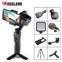Keelead 3-осевой ручной шарнирный стабилизатор для камеры GoPro w/фокус Pull & Zoom для iPhone Xs Max Xr X 8 плюс 7 6 Plus SE Samsung Экшн-камера