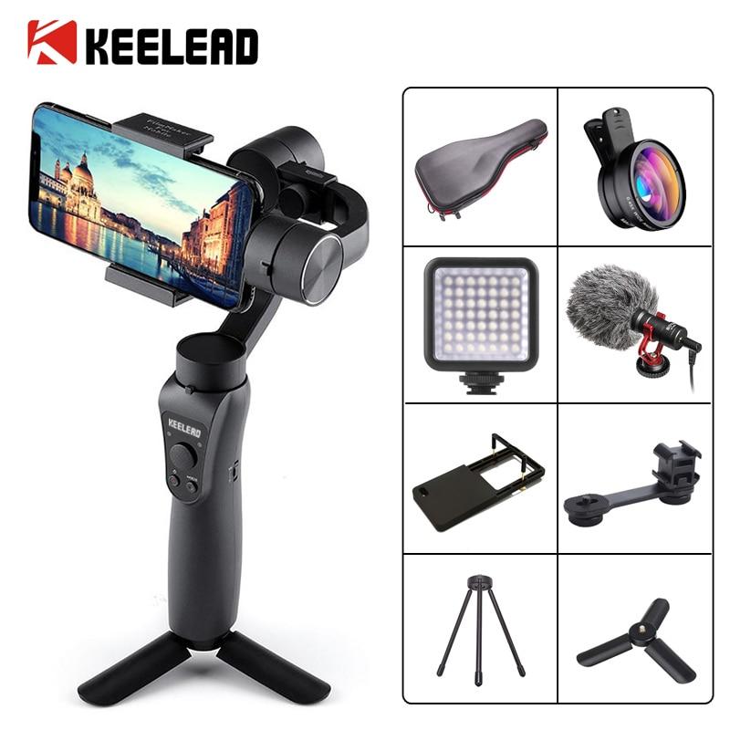 Keelead 3-axis handheld cardan estabilizador com foco pull & zoom para iphone xs max xr x 8 plus 7 6 se câmera de ação samsung