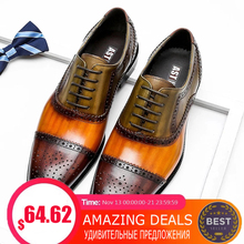 Dress Platform-Shoes Laces-Up Brogues Oxford Business Pointed-Toe Wedding Genuine-Wingtip