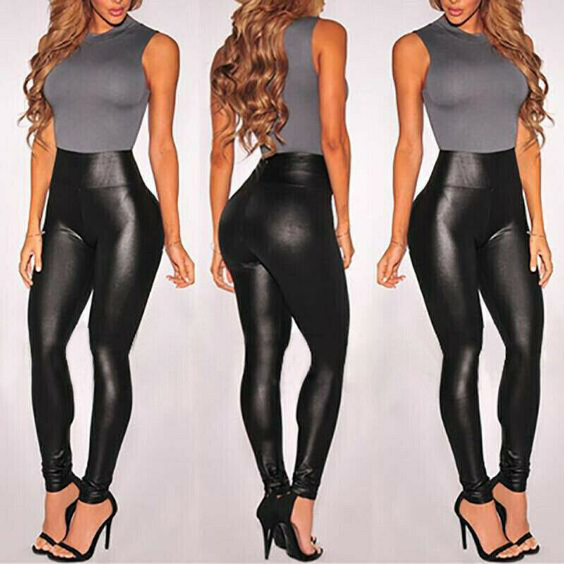 Women Faux Leather Leggings PU Shinny High Waist Stretch Pants Wet Look Black Long Waterproof Legging