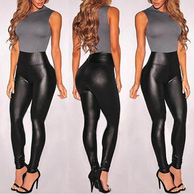 Femmes Faux cuir Leggings PU brillant taille haute Stretch pantalon humide Look noir longue imperméable Legging