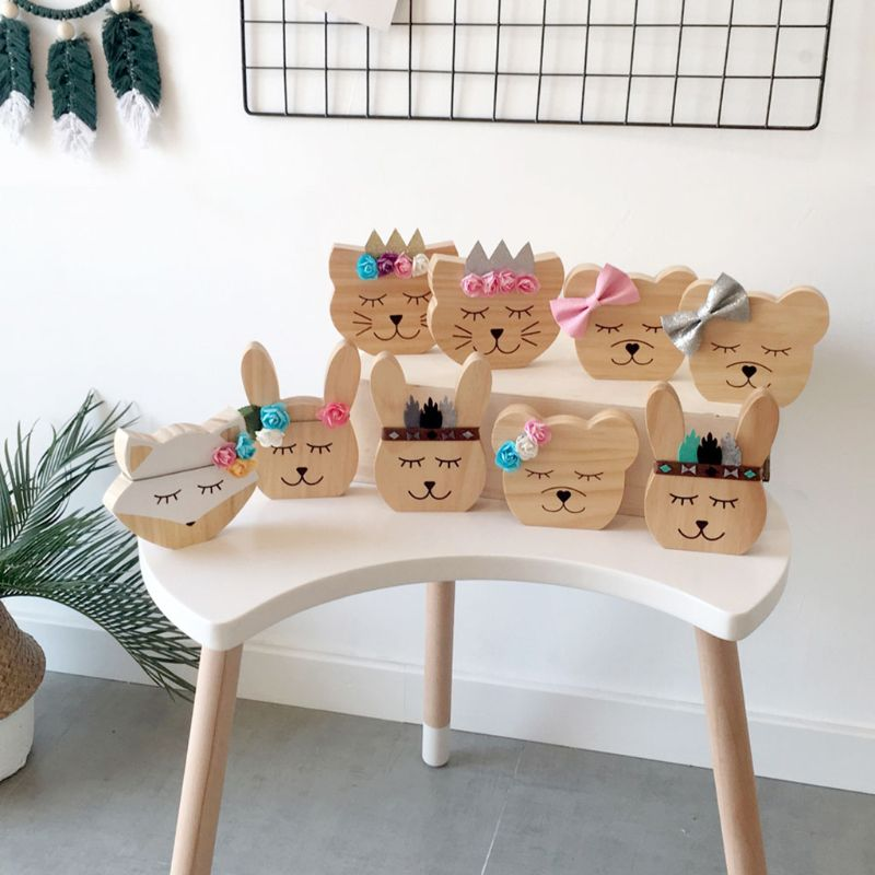 Nursery Decoration Wooden Animals Ornament For Children Room Photography Props D0AF