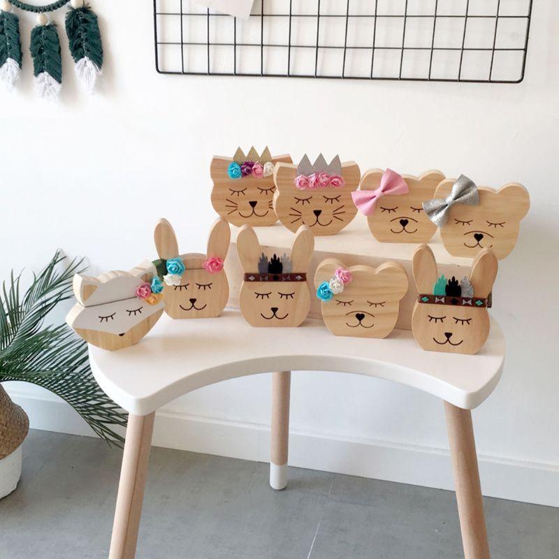 Nursery Decoration Wooden Animals Ornament For Children Room Photography Props D0AF